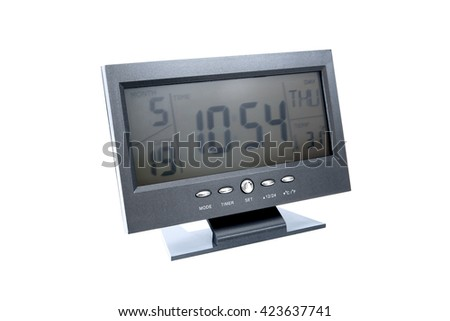Digital clock in television style isolated on white background