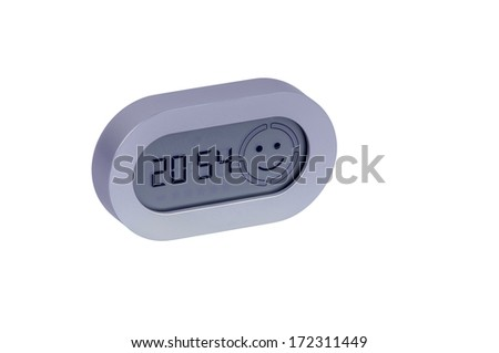 Digital clock left side view with smily face