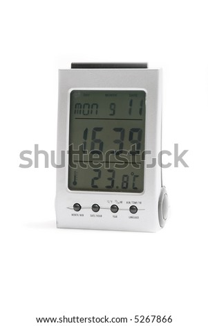 Digital clock on white background - stock photo