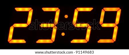 Digital clock show 23:59 on the black background - stock photo