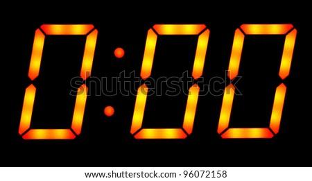 Digital clock show zero hours zero minutes. Isolated on the black background - stock photo