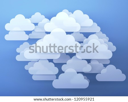 Digital clouds. 3d render illustration