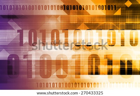 Digital Code Background as a Technology Concept in Purple and Orange - stock photo