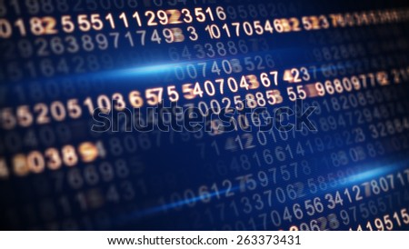 digital code on screen selective focus - stock photo
