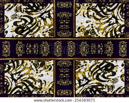 Digital collage art technique style abstract ornament decorative complex artwork in blue, yellow and white colors. - stock photo