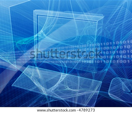 Digital collage illustration of a computer workstation with data flows - stock photo