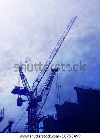 Digital collage illustration of construction industry equipment