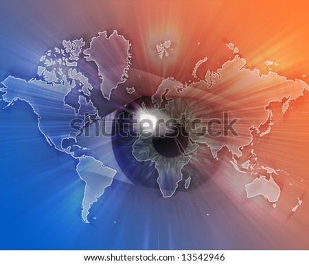 Digital collage of an eye over a map of the world orange blue