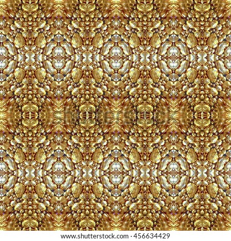 Digital collage technique organic texture ornate modern baroque seamless pattern design in golden tones.
