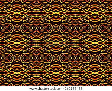 Digital collage technique tribal style decorative abstract texture seamless pattern in vibrant red and orange tones in black background. - stock photo