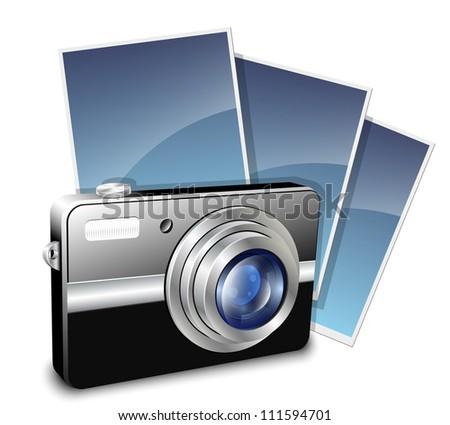 Digital compact photo camera and photos - stock photo