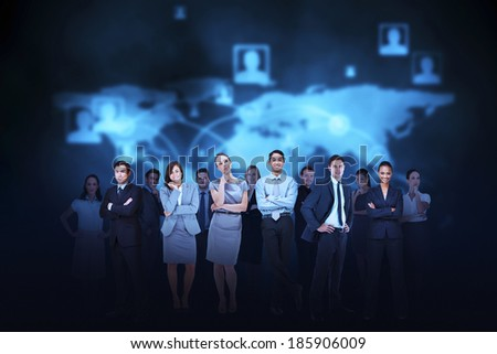 Digital composite of business team against blue map background - stock photo