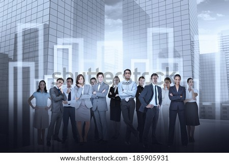 Digital composite of business team against city background - stock photo