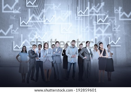 Digital composite of business team against graph background