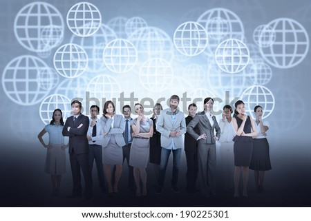 Digital composite of business team against sphere background
