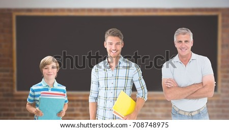 Digital composite of Educated men of age generations growing up with blackboard