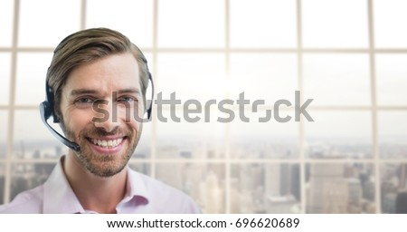 Digital composite of Happy customer care representative man against city background
