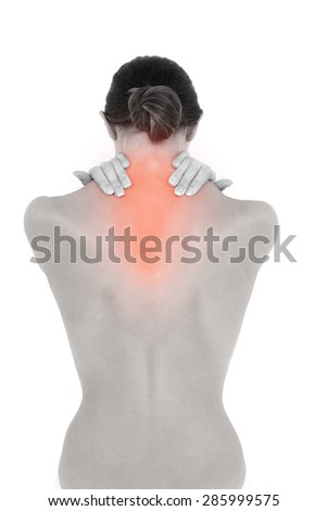 Digital composite of Highlighted neck pain of woman