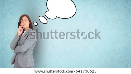 Digital composite of Thoughtful businesswoman with speech bubbles