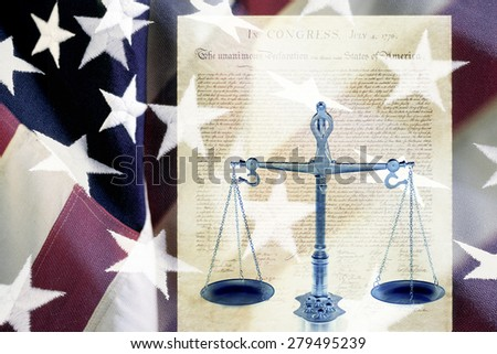 Digital composite: Scales and the Declaration of Independence  - stock photo