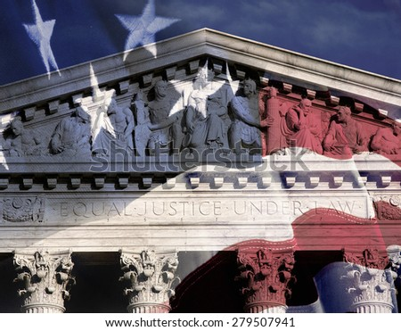 Digital composite: Supreme Court Building and American flag - stock photo