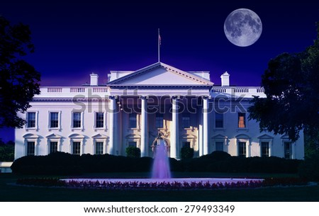 Digital composite: The White House, Washington D.C. and full moon - stock photo