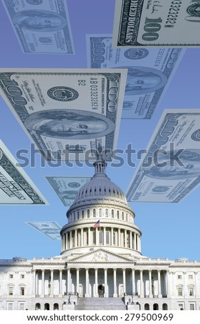Digital composite: U.S. Capitol with floating one hundred dollar bills - stock photo