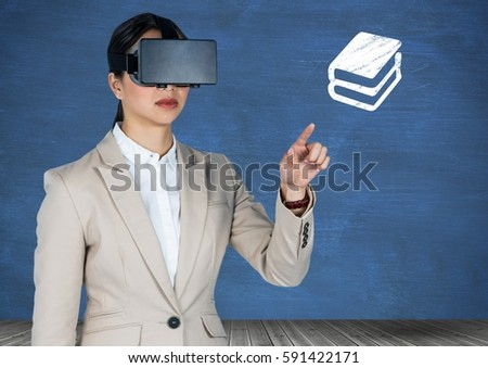 Digital composition of businesswoman using virtual headset pretending to touch book icon against blue background