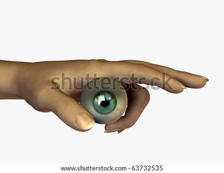 digital composition of eye and hand - stock photo