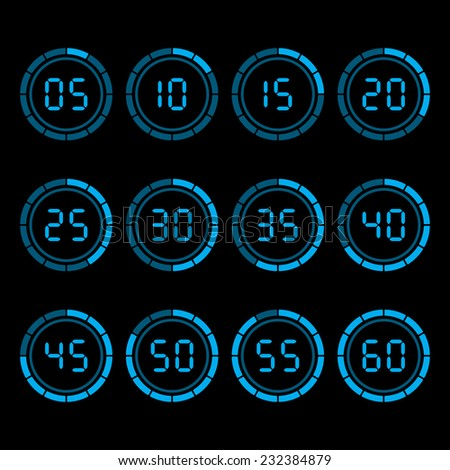 Digital countdown timer with five minutes interval. - stock photo