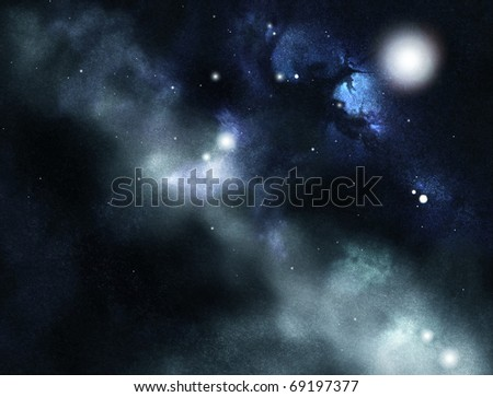 Digital created starfield with cosmic Nebula - stock photo