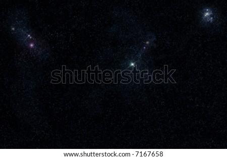 Digital created starfield with cosmic Nebula - stock photo