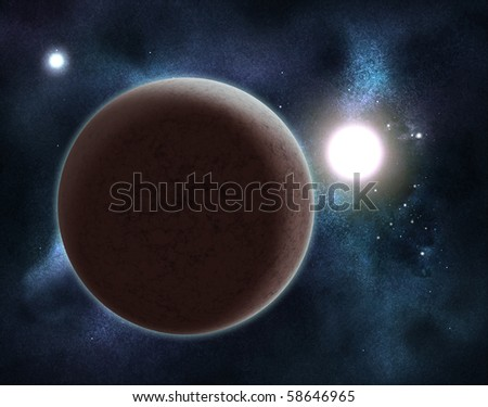 Digital created starfield with cosmic Nebula and planet - stock photo