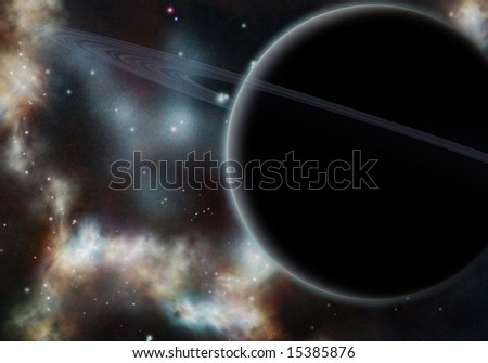 Digital created starfield with cosmic Nebula and planet with rings - stock photo