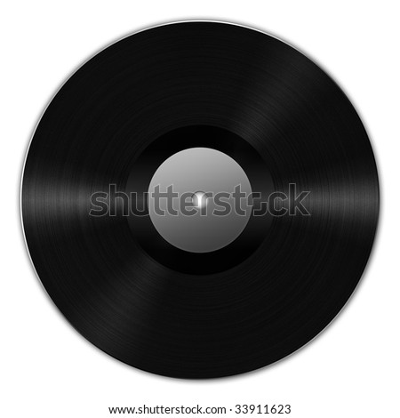 Digital creation of a black vinyl record with dynamic lighting.