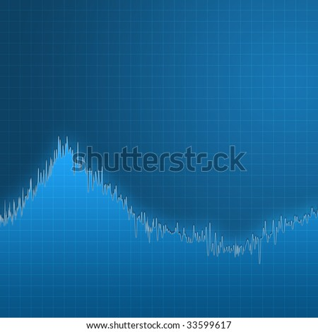 Digital creation of a blue chart with lots of ups and downs. - stock photo