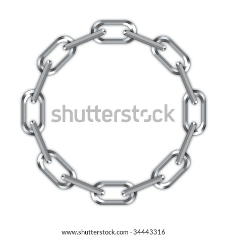 Digital creation of a chain in a ring on a white background. - stock photo