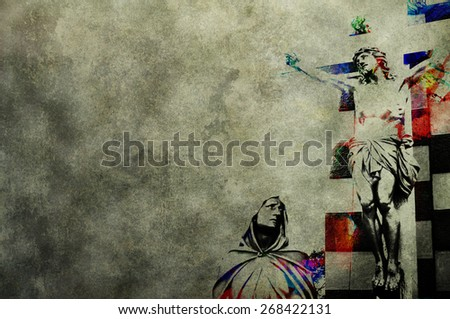 Digital Crucifixion of Jesus Christ:Wild modern illustration water painted vintage retro style effect abstract art of Jesus being crucified on the sacred cross with Mother Mary lamenting for him - stock photo