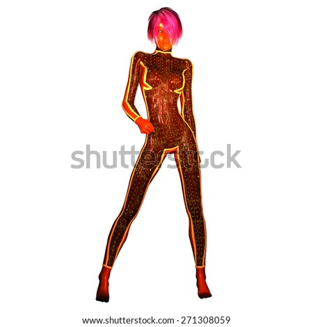 Digital 3D Illustration of a Science Fiction Female; Cutout on white Background - stock photo