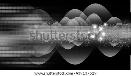 digital data background, black abstract light hi tech pixel internet technology, Cyber security concept, Cyber data digital computer. eye scan virus. motion move speed. wave - stock photo