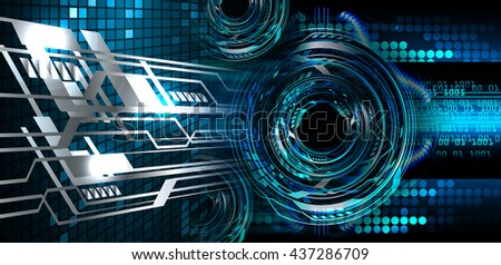 digital data background,blue abstract light hi tech pixel internet technology, Cyber security concept, Cyber data digital computer. eye scan virus