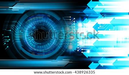 digital data background,blue arrow abstract light hi tech pixel internet technology, Cyber security concept, Cyber data digital computer. eye scan virus - stock photo