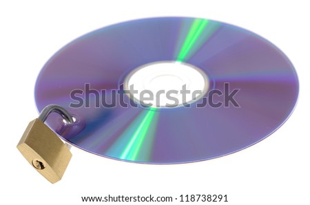 digital data security concept padlock locking cd dvd isolated on white