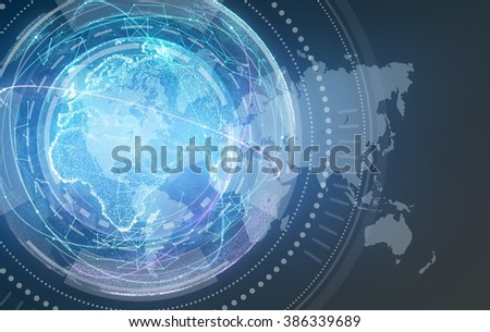 Digital design of a global network world map - stock photo