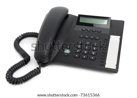Digital desk phone isolated on a white background - stock photo