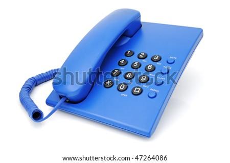 Digital deskmounte phone on a white background - stock photo