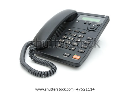 Digital deskmounted phone on a white background
