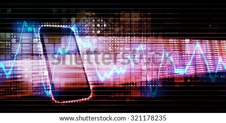 Digital Device Exploding With Content and Data - stock photo