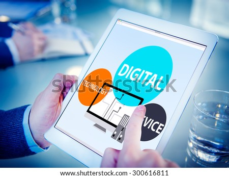 Digital Device Technology Internet Computer Connect Concept - stock photo