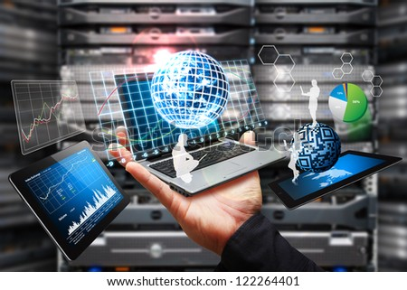 Digital devices and data report in data center room : Elements of this image furnished by NASA - stock photo